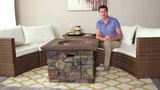 Albena Wicker Sofa Sectional Conversation Set With Galiano Fire Pit Table - Product Review Video
