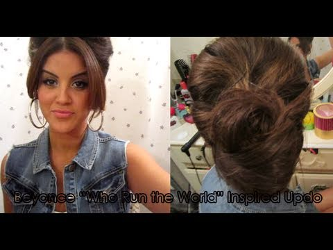 """TUTORiAL: Beyonce """"Who Run the World"""" Inspired Updo + Bloopers"""