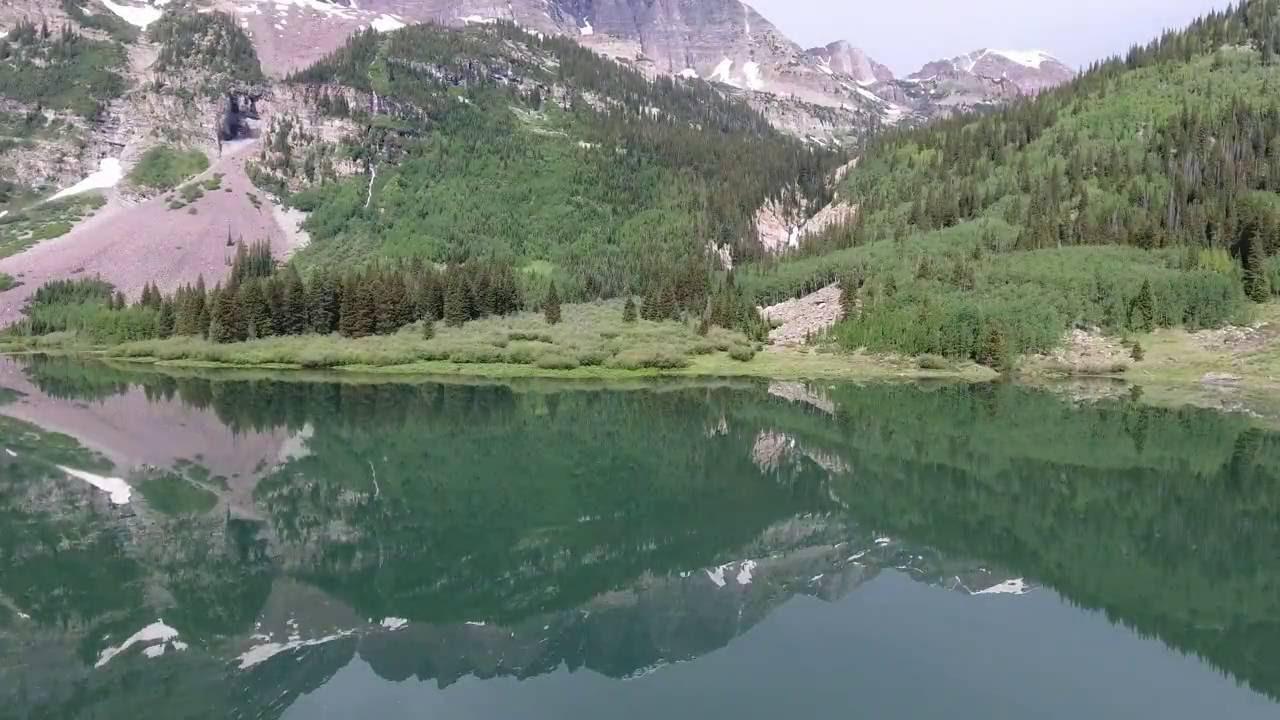 Maroon Bells - 4k Phantom 4 Drone over Maroon Lake and Crater Lake -