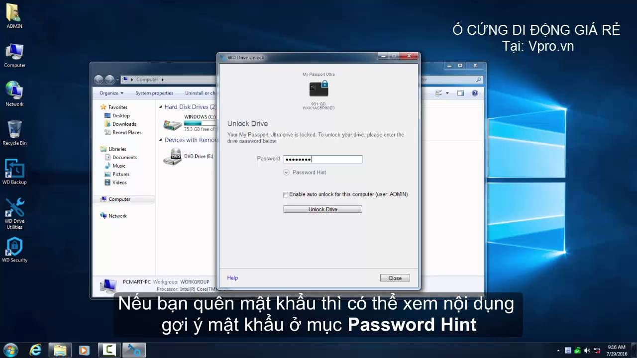 Hướng dẫn cài đặt sử dụng phần mềm WD Security trên Windows