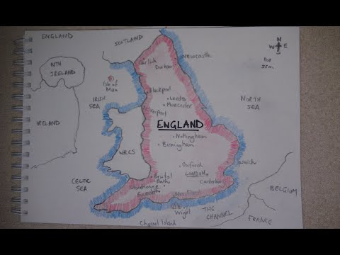 ASMR - Map Of England - Australian Accent - Chewing Gum, Drawing & Describing In A Quiet Whisper