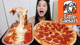 Little Caesars IMPOSSIBLE PIZZA! Cheesy Ricotta Cannelloni & Plant-Based Pizza - Mukbang Asmr