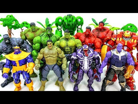 Marvel Avengers HULK, RED HULK, HULK SMASH Collection GO! Defeat Villains Army Battle #Toysplaytime