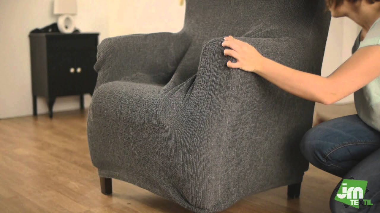 stretch husse f r ohrensessel youtube. Black Bedroom Furniture Sets. Home Design Ideas