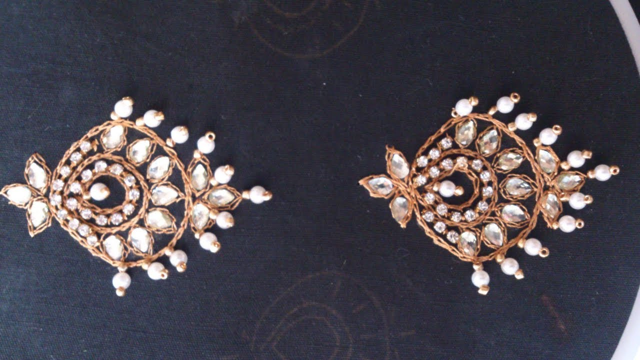 Hand Embroidery Designs Jewellery Embroidery Chandbali Design Youtube