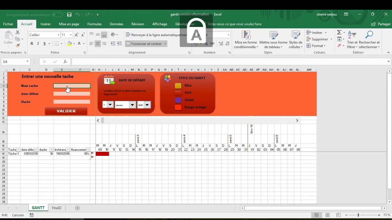 Diagramme De Gantt Sur Excel