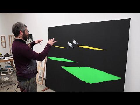 Artist Nigel Milsom in his studio