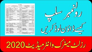 How To Check Matric Roll Number Slip | How To Check Inter Roll Number Slip | 10th 12th Result 2020