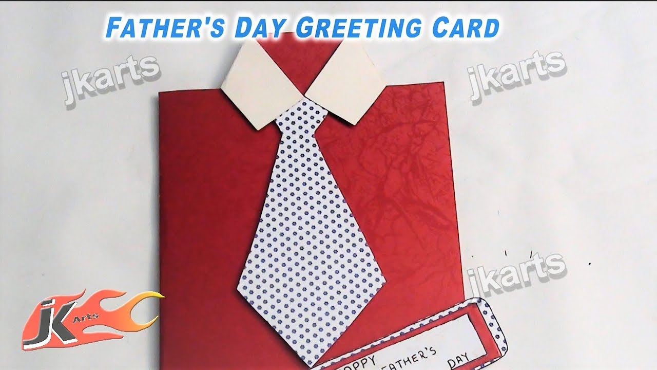 DIY Easy Fathers Day Shirt with Tie card How to make JK Arts