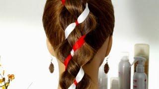 Плетение косы из 4-х прядей (2+2 ленты) с лентами.