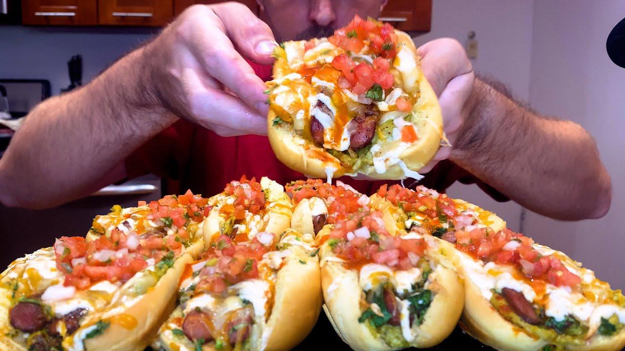 SPICY CHEESE HOT DOGS !🧀 🌭 치즈 핫도그 チーズホットドッグ * asmr no talking mukbang * nomnomsammieboy