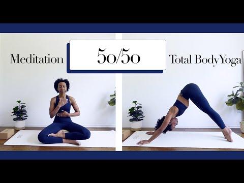 ☁️ 50/50 Meditation for Encouragement + Total Body Vinyasa Yoga Stretch