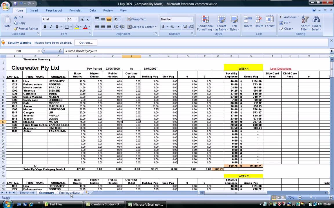 smart payroll timesheet setup