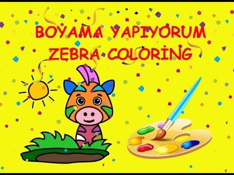 Sevimli Zebra Boyama Zebra Coloring çocuklar Için Süper Renkli