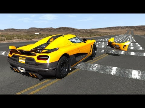 100+ Consecutive Speed Bumps High Speed Testing #12 - BeamNG DRIVE