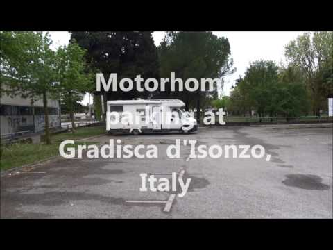Motorhome parking at Gradisca d'Isonzo, Italy