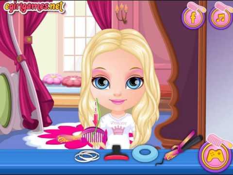 Мультик игра Малышка Барби: Стиль принцессы Диснея (Baby Barbie Disney Hair Salon)