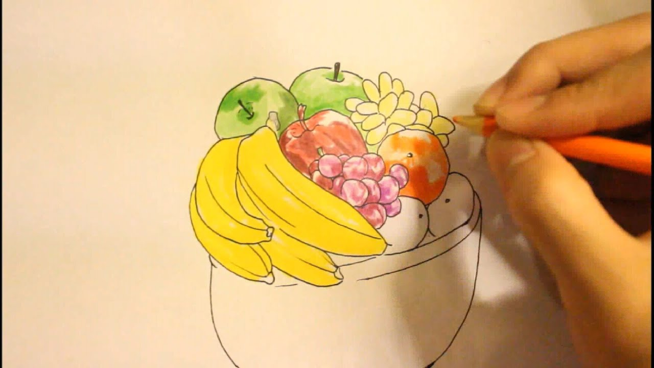 how to draw a bowl of fruitstep by stepeasy youtube