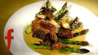 Pan-Fried Chicken Breast with Asparagus and Morel Sauce