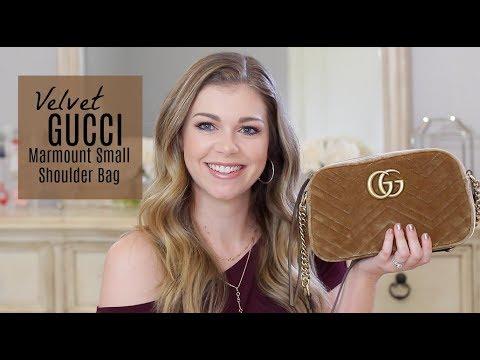 3a62aca6cfbf New Gucci Marmont Small Velvet Shoulder Bag + BONUS What s in my Bag ...