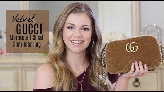 New Gucci Marmont Small Velvet Shoulder Bag + BONUS What's in my Bag!