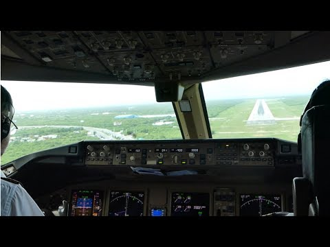 AWESOME CROSSWIND COCKPIT VIDEO | Boeing 777-300ER Landing in the Caribbean at Punta Cana