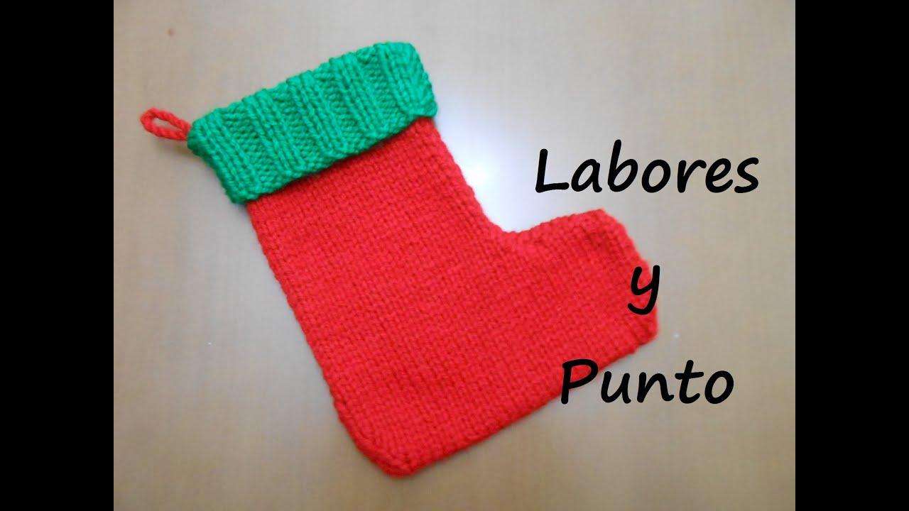 Como tejer una bota, calcetín, o media de Papa Noel para Navidad en ...