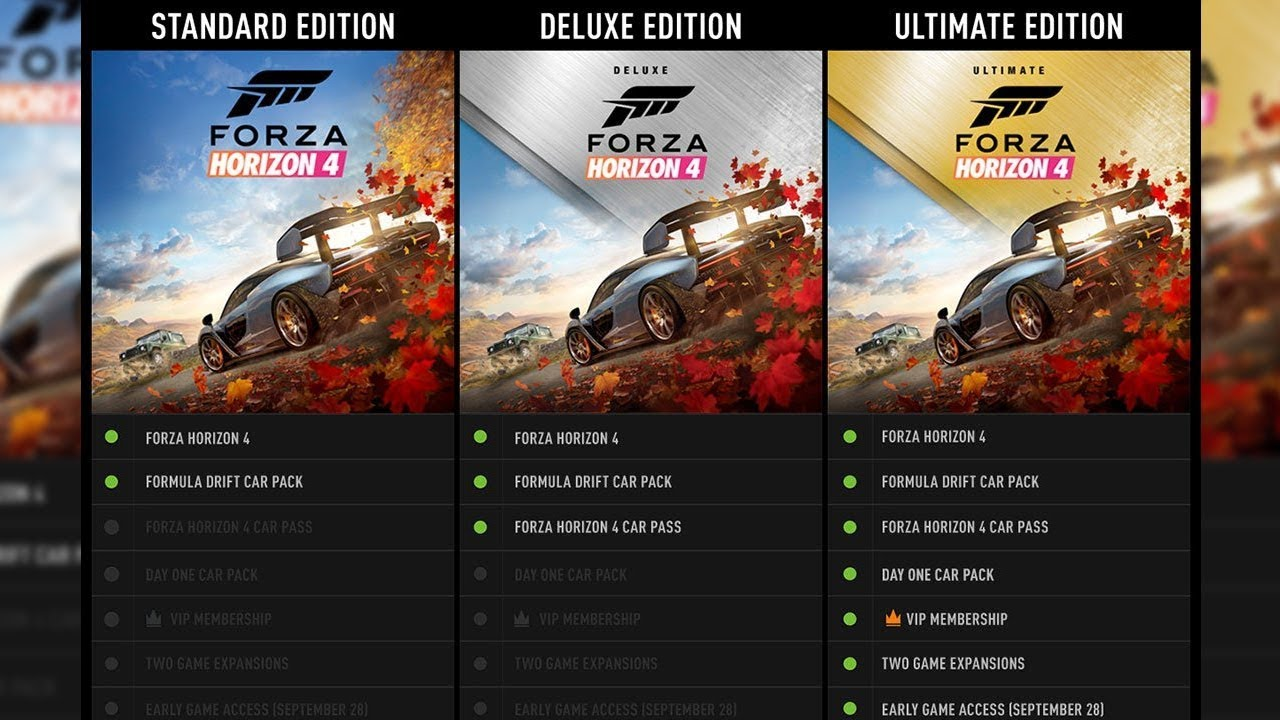 which forza horizon 4 edition should you buy car pass. Black Bedroom Furniture Sets. Home Design Ideas