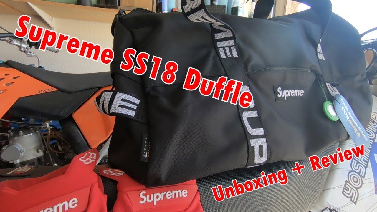 80c1105f9e26 Supreme Duffle Bag SS18 Black - YouTube