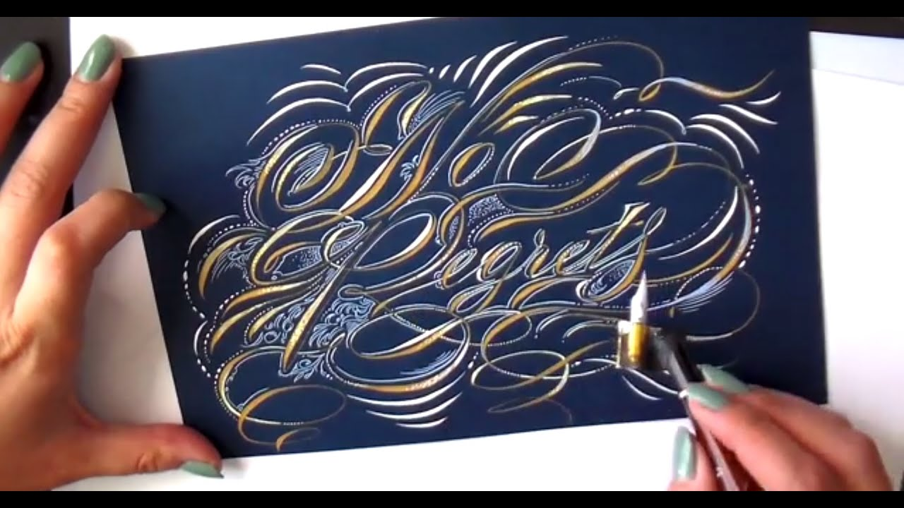 Illustrated calligraphy with flourishes and designs youtube