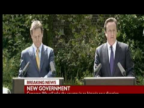 Prime Minister David Cameron and Deputy Prime Minister Nick Cleggs First Joint Conference Today.AVI