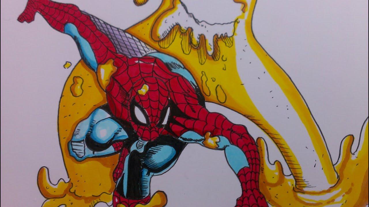 Inking/Coloring Sandman vs Spiderman, Marvel comics - YouTube