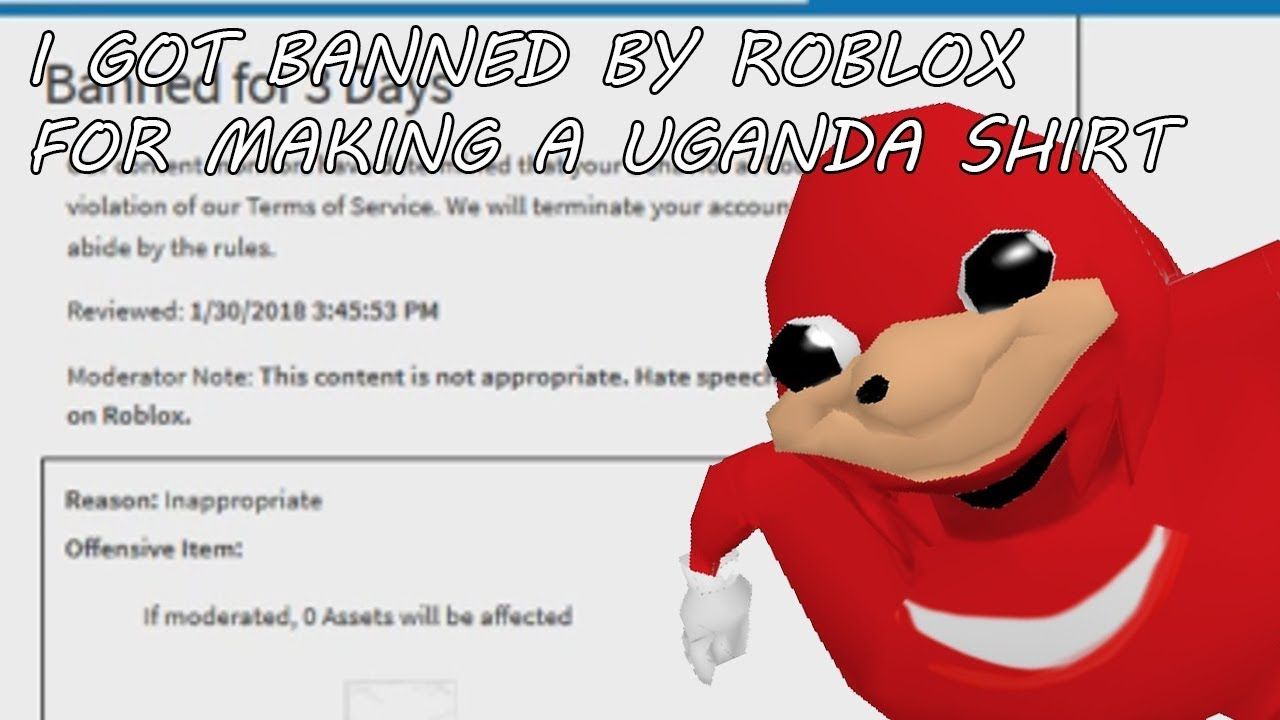 Uganda Knuckles Roblox I Got Banned By Uganda Knuckles Shirt Youtube