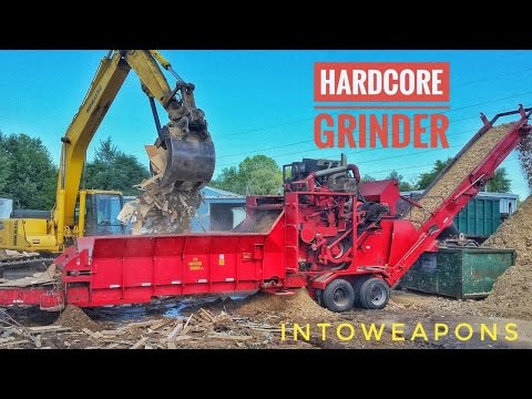 HARDCORE Wood Grinder:  Slow Mo & Destruction!