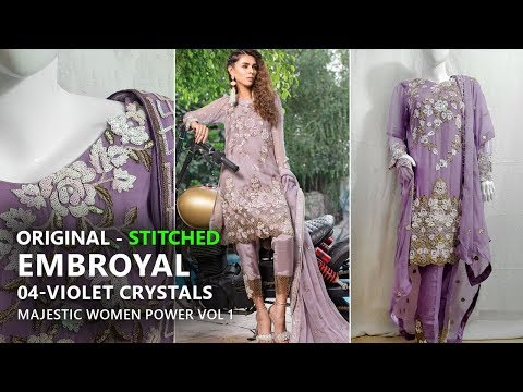5d5d6704ab Embroyal Chiffon Collection 2018 - Stitched 04 Violet Crystals Majestic - Pakistani  Branded Dresses - YouTube