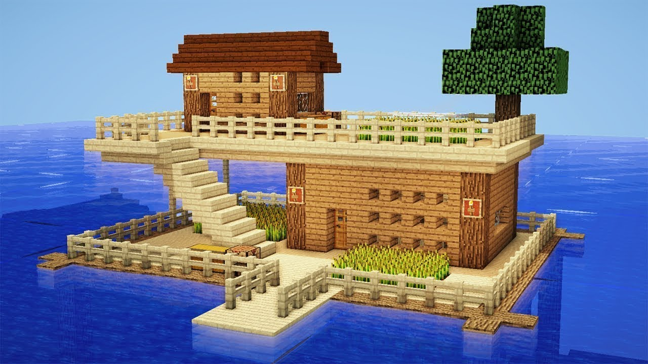 Minecraft How to Build a Survival House on Water  House Tutorial  YouTube
