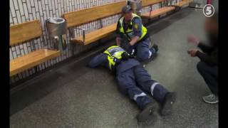 African gang beats up security guard in Stockholm subway.