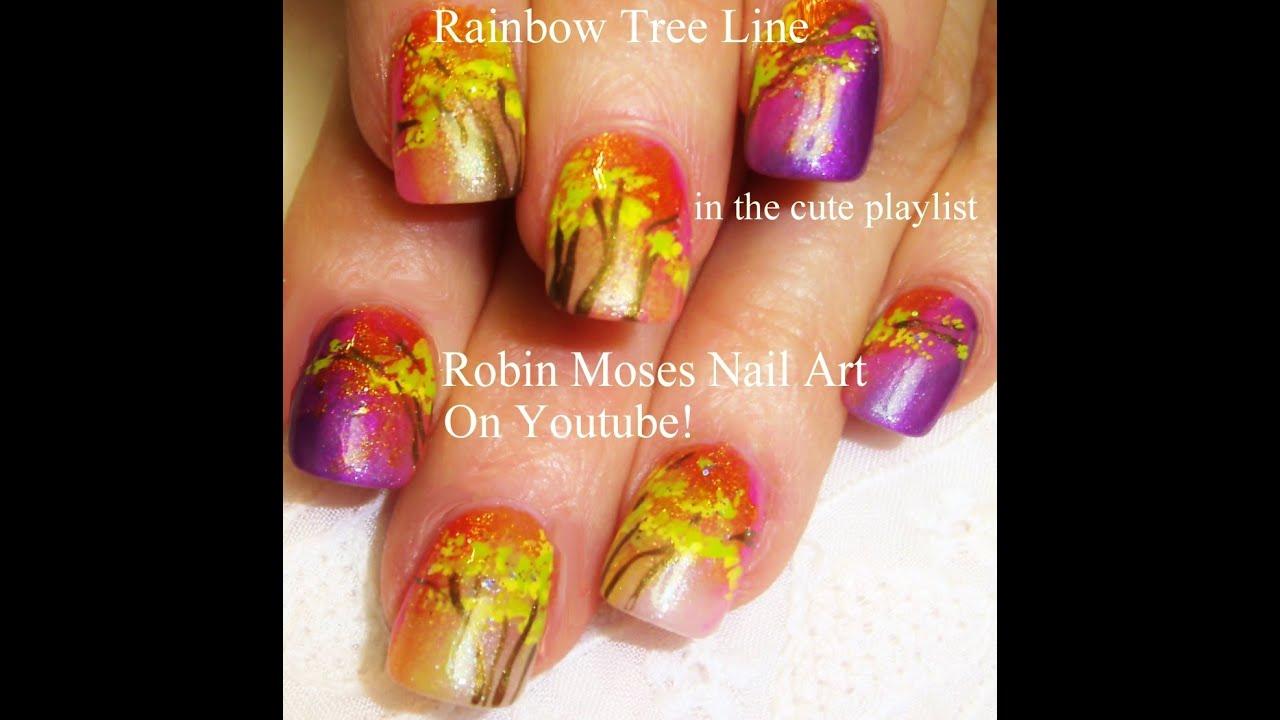 Rainbow Tree Nails | Easy DIY Fall Nail Art Design ...