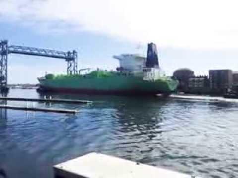Ocean going tanker leaving Portsmouth NH harbor