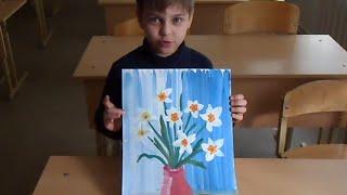 Нарциссы в вазе. В технике гуашь. Урок для детей 5 - 10 лет.