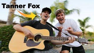 Teaching Tanner Fox how to Play Guitar