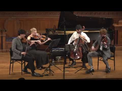 "Friction Quartet performs ""Family Group with Aliens"" by Piers Hellawell"