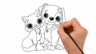Vẽ Và Tô Màu Chó Con Và Mèo Con Dễ Thương - Tranh Tô Màu Chủ Đề Con Vật