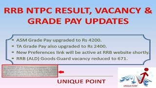 rrb ntpc mains result    vacancy asm grade pay updates