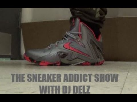 brand new 2775c 583a0 Nike Lebron 11 Elite Grey  Lazer Crimson Sneaker On Foot With Dj Delz   DjDelz Superhero - YouTube