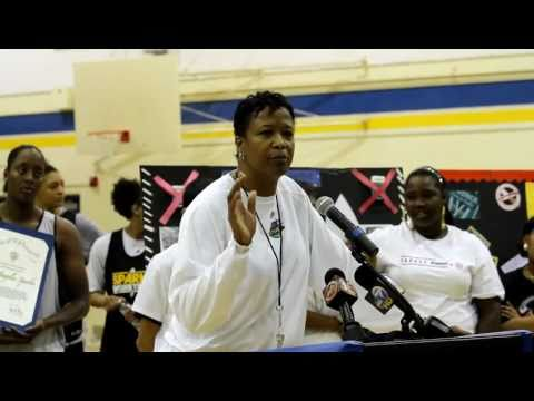 LA Sparks Coach Gillom at Crenshaw High - Live Tobacco-free - NO Excuses