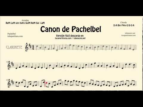 Pachelbel's Canon in D Sheet Music for Clarinet tocapartituras com version