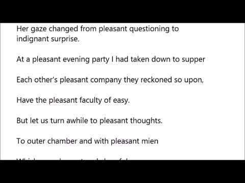 Pleasant In A Sentence With Pronunciation Youtube