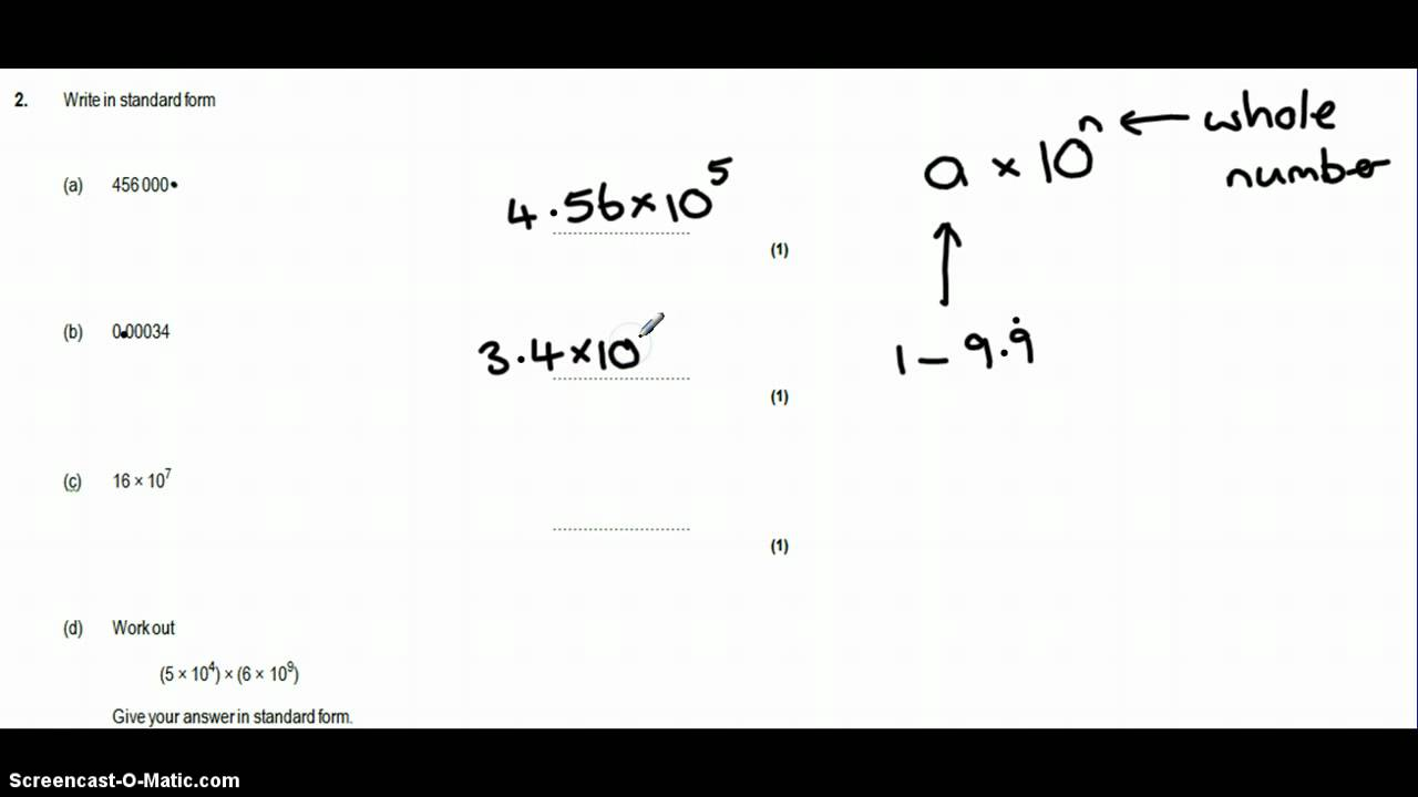 Standard Form Question 2 Test 1 Youtube