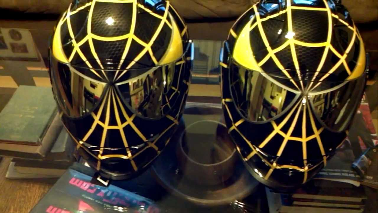 Custom Painted Icon Spiderman Black And Yellow Helmets